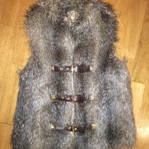 Michael Kors faux fur buckle vest